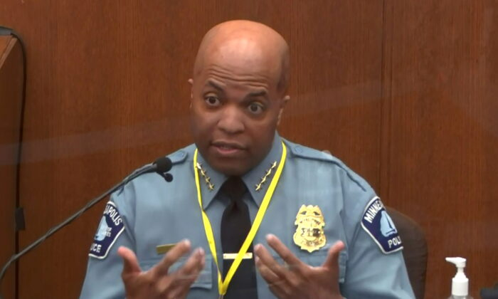 In a still image from video, Minneapolis Police Chief Medaria Arradondo answers questions on the sixth day of the trial of former Minneapolis police officer Derek Chauvin for second-degree murder, third-degree murder and second-degree manslaughter in the death of George Floyd in Minneapolis, Minn., on April 5, 2021. (Pool via Reuters)