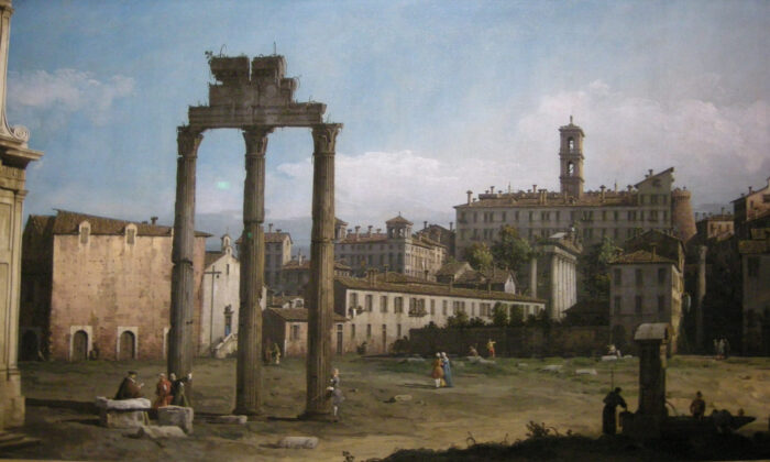 """Various historians and statesmen attributed the downfall of the Roman Republic to the decline in religious belief and the accompanying unraveling of morality. """"Rome: Ruins of the Forum, Looking Towards the Capitol"""" by Canaletto, 1742. (Public domain)"""