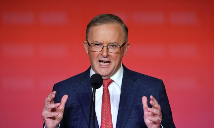 Leader of the Opposition Anthony Albanese makes his closing remarks at the end of the Australian Labor Party (ALP) National Conference at the Revesby Workers Club in Sydney, Wednesday, March 31, 2021. (AAP Image/Mick Tsikas)
