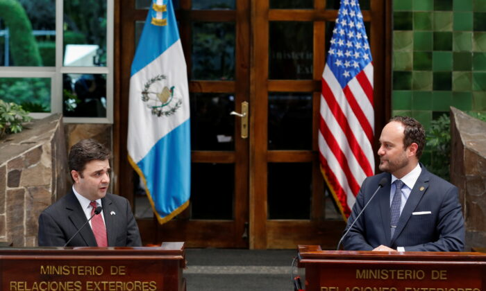 President Joe Biden's special envoy for the Northern Triangle Ricardo Zúñiga holds a news conference with Guatemalan Foreign Minister Pedro Brolo, in Guatemala City, Guatemala, on April 6, 2021. (Luis Echeverria/Reuters)