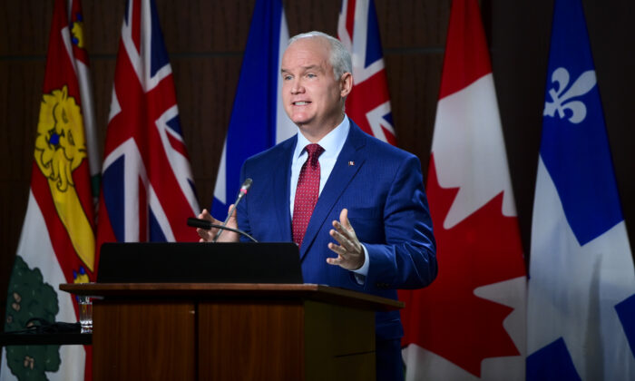 Conservative leader Erin O'Toole holds a press conference on Parliament Hill in Ottawa, Canada, on April 6, 2020. (Sean Kilpatrick/The Canadian Press)