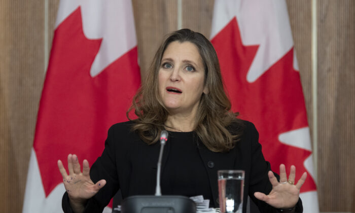 Deputy Prime Minister and Minister of Finance Chrystia Freeland responds to a question during a news conference in Ottawa, on Nov. 30, 2020. (The Canadian Press/Adrian Wyld)