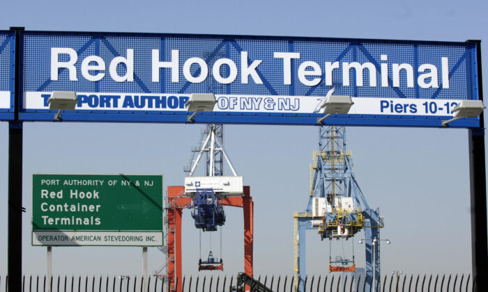 Two heavy cranes at the Red Hook Container Terminal in the Brooklyn borough of New York on Feb. 16, 2006. (Stan Honda/AFP via Getty Images)