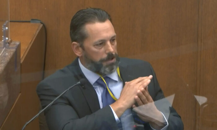 Minneapolis Police Lt. Johnny Mercil testifies in the trial of former Minneapolis police Officer Derek Chauvin at the Hennepin County Courthouse in Minneapolis, Minn., on April 6, 2021. (Court TV via AP/Pool)