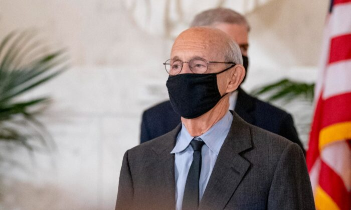 Supreme Court Justice Stephen Breyer stands during an event at the Supreme Court in Washington, on Sept. 23, 2020. (Andrew Harnik-Pool/Getty Images)