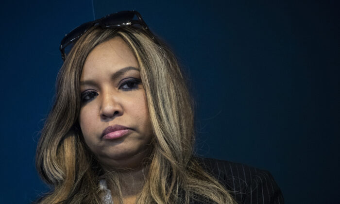 Lynne Patton, then-employee of Housing and Urban Development (HUD), takes questions at a press conference in New York on Jan. 31, 2019. (Drew Angerer/Getty Images)