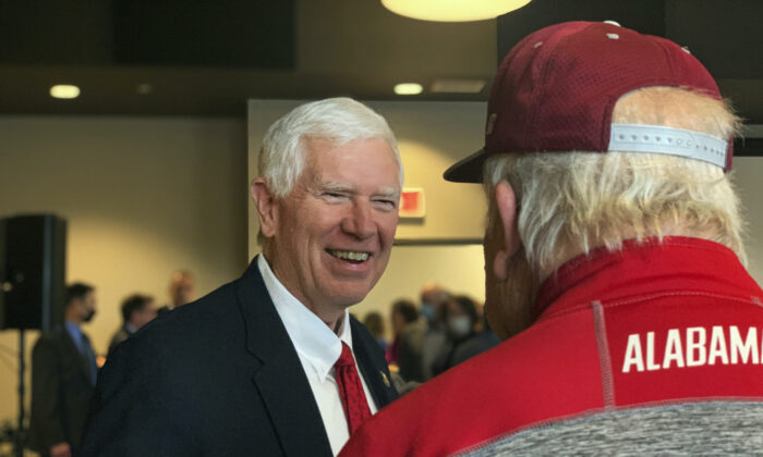 Rep. Mo Brooks (R-Ala.) greets supporters as he announces his campaign for U.S. Senate during a rally in Huntsville, Ala., on March 22, 2021.