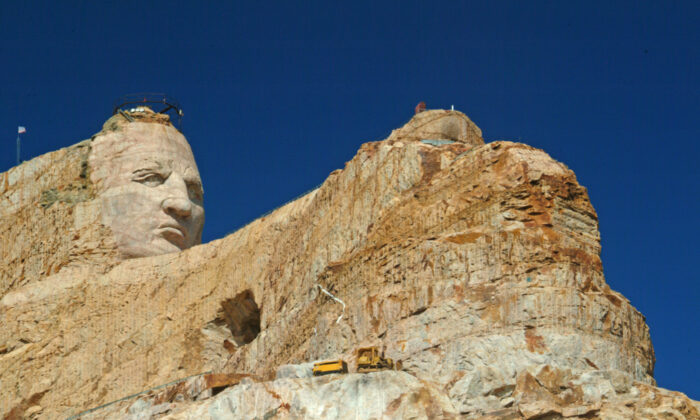 The three-dimensional Crazy Horse Memorial carving in-the-round is the largest sculptural project in the history of the world. It will measure 563 feet high and 641 feet long. (Fred J. Eckert)