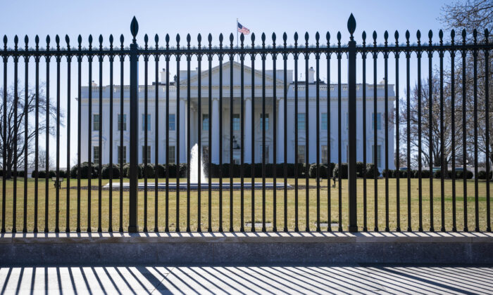 The White House is seen from outside the security fencing in Washington, on March 7, 2021. (Sarah Silbiger/Getty Images)