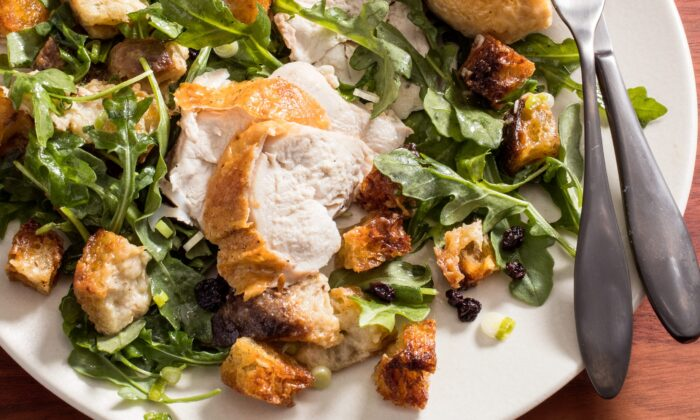 San Francisco's Zuni Cafe serves perfect roast chicken with a chewy-crisp, warm bread salad. We pay homage to the dish with a streamlined take. (Catrine Kelty)