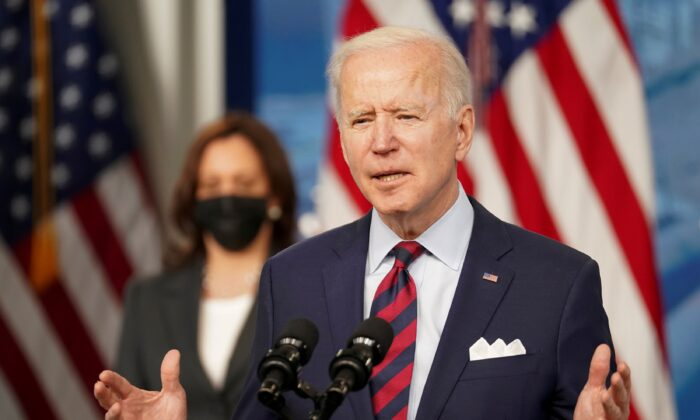 President Joe Biden speaks about jobs and the economy at the White House on April 7, 2021. (Kevin Lamarque/Reuters)