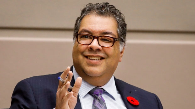 Mayor Naheed Nenshi speaks at a Calgary City council meeting on Oct. 31, 2018. (Jeff McIntosh/The Canadian Press)
