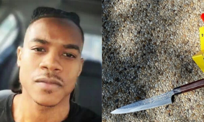 Noah Green (L) and the knife authorities say he held as he charged toward police outside the U.S. Capitol in Washington on April 2, 2021. (Facebook screenshot via Reuters; MPD)