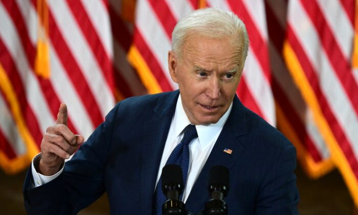 President Joe Biden speaks in Pittsburgh on March 31, 2021, as he unveils his $2 trillion infrastructure plan. (Jim Watson/AFP via Getty Images)
