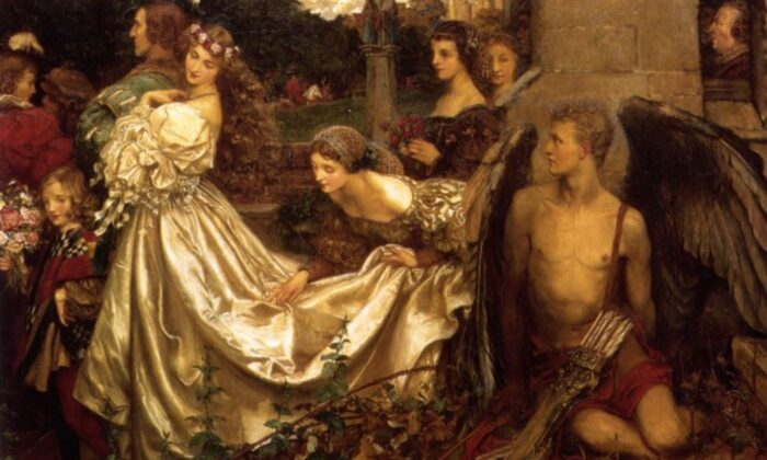 """""""The Uninvited Guest,"""" by Eleanor Fortescue-Brickdale. (Art Renewal Center)"""