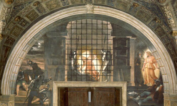 """Raphael's fresco the """"Liberation of Saint Peter,"""" 1514. Vatican Museums, Vatican City. (Public Domain)"""