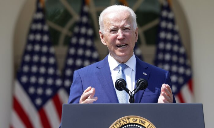 President Joe Biden speaks during an event on gun control in the Rose Garden at the White House in Washington on April 8, 2021. (Alex Wong/Getty Images)