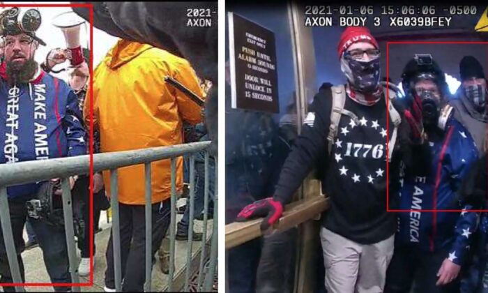 Stills from police body-worn camera video footage allegedly showing Christopher Quaglin (with a red box around him) at the U.S. Capitol in Washington, on Jan. 6, 2021. Quaglin was arrested on April 6, 2021. (Department of Justice)