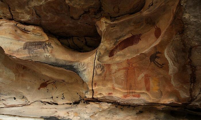 Indigenous Australian rock art in a cave in Laura, Australia, on June 19, 2011.  (Photo by Mark Kolbe/Getty Images)