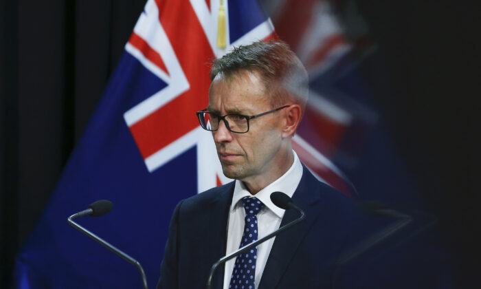 Director-General of Health Dr Ashley Bloomfield looks on during a press conference at Parliament in Wellington, New Zealand on Feb. 17, 2021. (Hagen Hopkins/Getty Images)