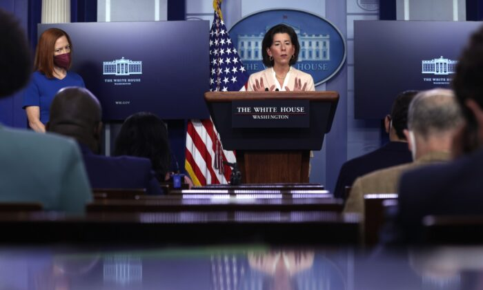 U.S. Secretary of Commerce Gina Raimondo speaks as White House Press Secretary Jen Psaki looks on during a daily press briefing at the James Brady Press Briefing Room of the White House April 7, 2021 in Washington. (Alex Wong/Getty Images)