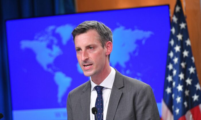 "U.S. State Department Spokesman Ned Price speaks ahead of an address by Secretary of State Antony Blinken during the release of the ""2020 Country Reports on Human Rights Practices,"" at the State Department in Washington on March 30, 2021. (Mandel Ngan/POOL/AFP via Getty Images)"