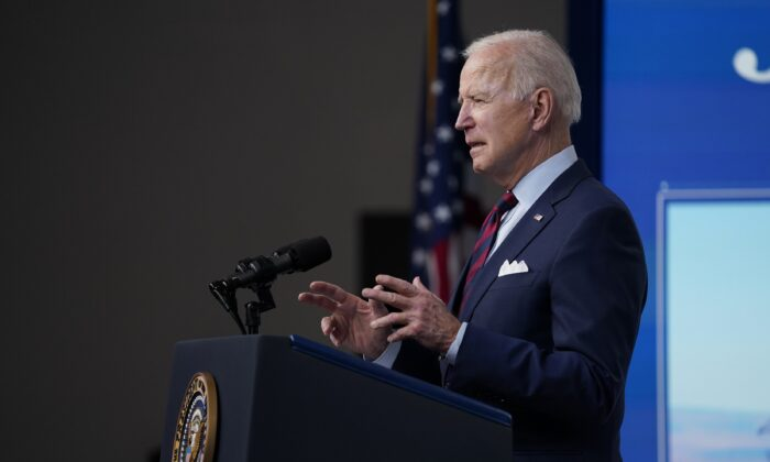 President Joe Biden speaks during an event on the American Jobs Plan in the South Court Auditorium on the White House campus in Washington on April 7, 2021. (Evan Vucci/AP Photo)