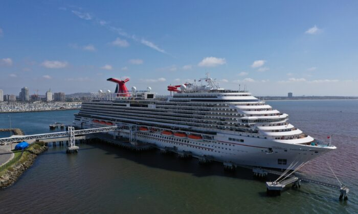 The Carnival Panorama cruise ship sits docked, empty of passengers, as the global outbreak of COVID-19 continues, in Long Beach, Calif., on April 16, 2020. (Lucy Nicholson/Reuters)