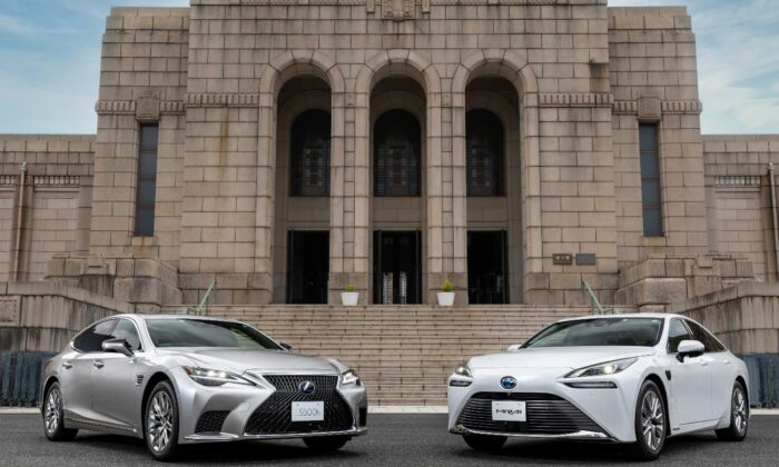 Lexus LS and Toyota Mirai cars in front of the Meiji Memorial Picture Gallery in Shinjuku, Tokyo, Japan. (Toyota/Handout via Reuters)