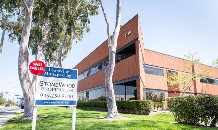 Commercial real estate properties sit on the market in Costa Mesa, Calif., on April 9, 2021. (John Fredricks/The Epoch Times)