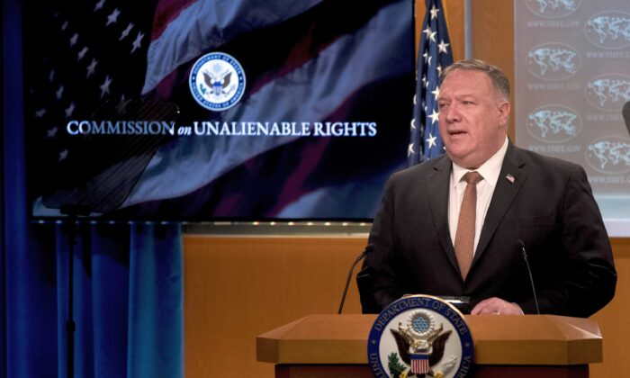 Then-Secretary of State Mike Pompeo speaks during a news conference at the State Department in Washington on July 15, 2020. (Andrew Harnik/Pool/AFP via Getty Images)
