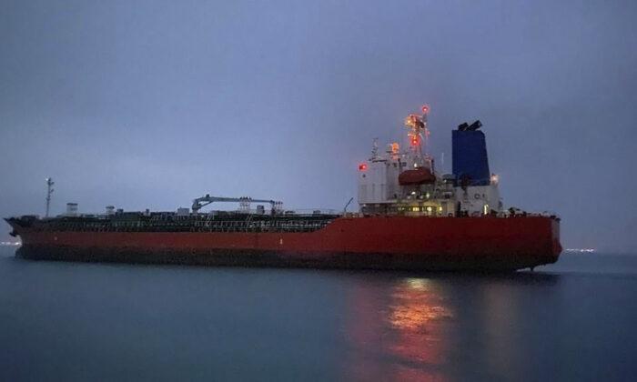 The MT Hankuk Chemi leaves the port in Bandar Abbas, Iran, on April 9, 2021. (South Korea Foreign Ministry via AP)