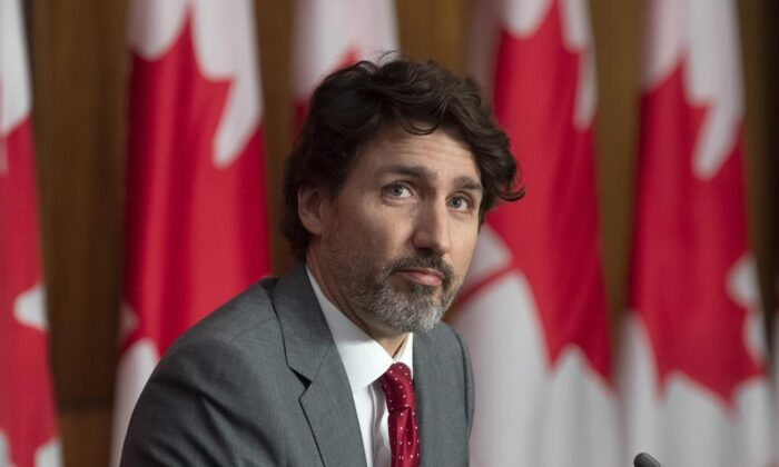 Prime Minister Justin Trudeau takes part in a news conference in Ottawa on Apr. 9, 2021. (The Canadian Press/Adrian Wyld)