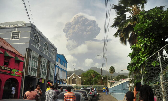 Ash and smoke billow as the La Soufriere volcano erupts in Kingstown on the eastern Caribbean island of St. Vincent on April 9, 2021. (Robertson S. Henry/Reuters)