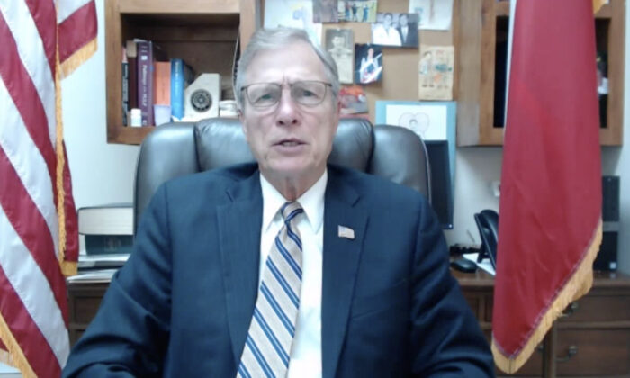 Rep. Brian Babin (R-Texas) in his office in Woodville, Texas, on April 9, 2021. (Screenshot/The Epoch Times)