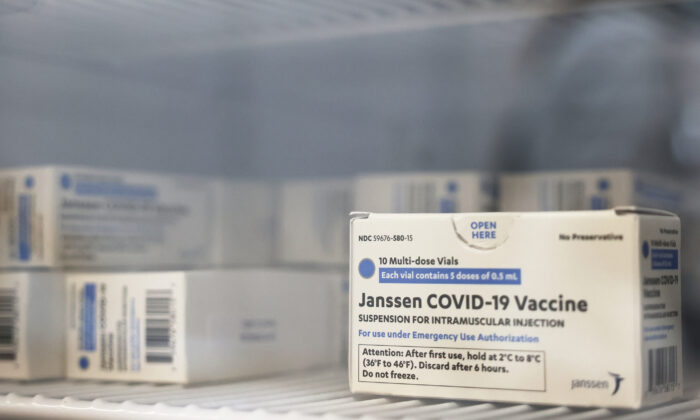Doses of Johnson & Johnson's COVID-19 vaccine in a refrigerator on April 8, 2021. (Michael M. Santiago/Getty Images)