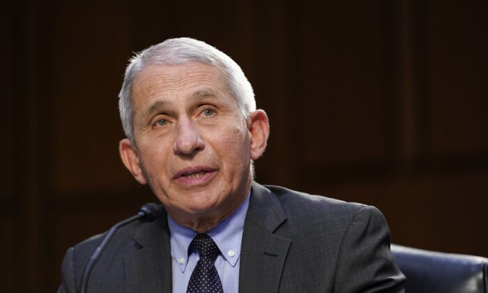 Dr. Anthony Fauci,director of the National Institute of Allergy and Infectious Diseases, speaks to members of Congress during a hearing in Washington on March 18, 2021. (Susan Walsh/Pool/Getty Images)