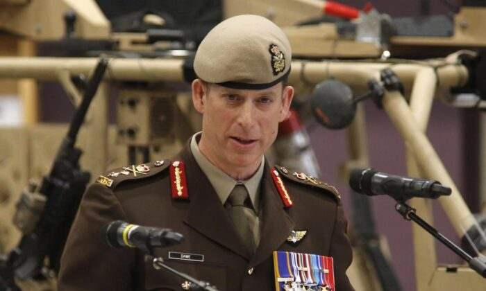 Major-General Peter Dawe speaks at a Canadian Special Operations Forces Command change of command ceremony in Ottawa on April 25, 2018. (The Canadian Press/ Patrick Doyle)