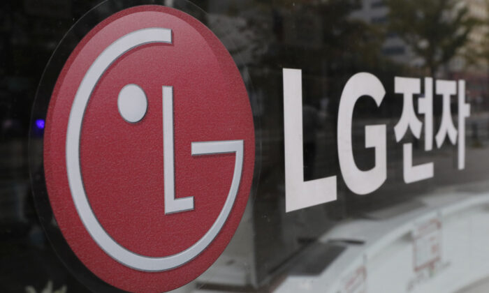 The corporate logo of LG Electronics in Goyang, South Korea, on Oct. 26, 2017. (Lee Jin-man/AP Photo)