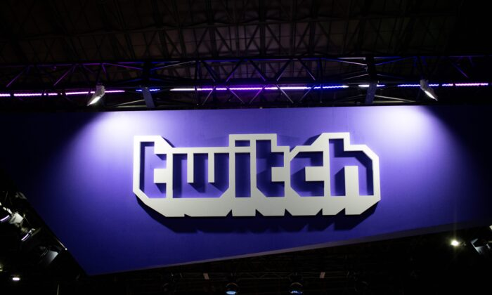 A Twitch logo at Tokyo Game Show on Sept. 21, 2018. (Martin Bureau/AFP via Getty Images)