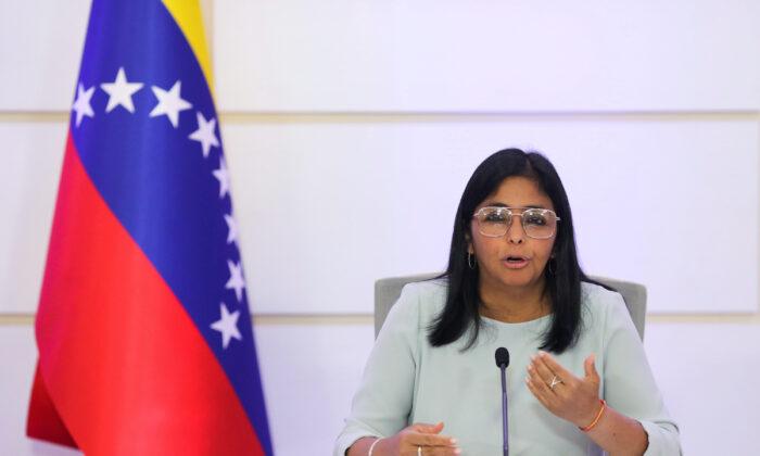 Venezuela's Vice President Delcy Rodriguez gestures as she speaks during a news conference in Caracas, Venezuela on April 7, 2021. (Manaure Quintero/Reuters)