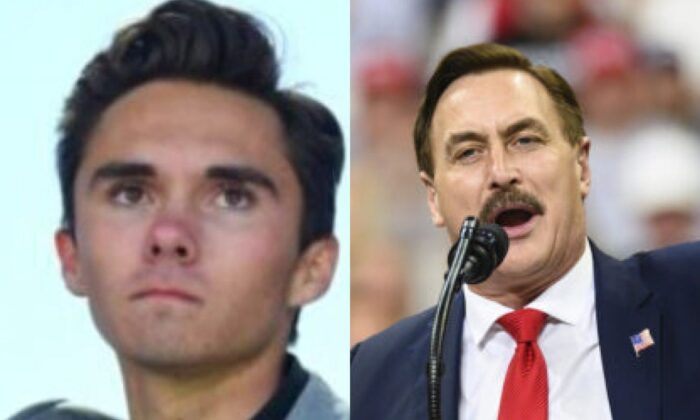 David Hogg and Mike Lindell in file photos. (Jim Watson/AFP/Getty Images; Stephen Maturen/Getty Images)