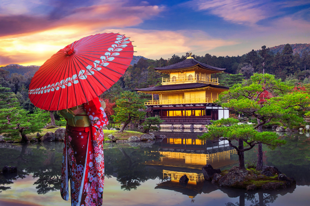 Asian,Woman,Wearing,Japanese,Traditional,Kimono,At,Golden,Pavilion.,Kinkakuji