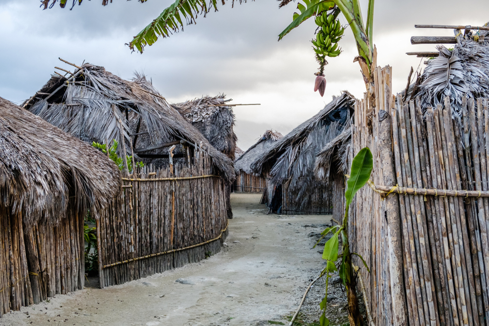 Rural,Thatch,Houses,And,Street,In,Traditional,Kuna,Village,,San