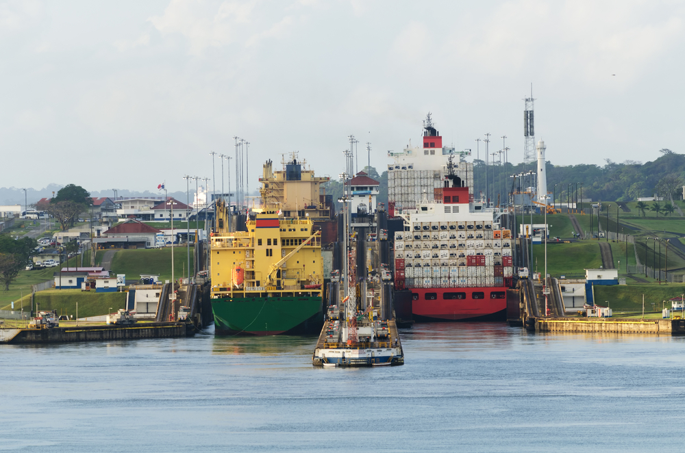 Two,Cargo,Ships,Enter,The,Gatun,Locks,From,The,Gatun
