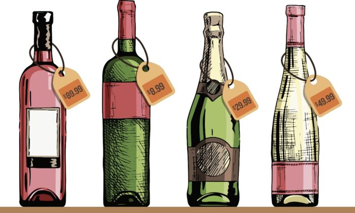 In many cases, the quality and price of a wine have nothing to do with each other. (Wine bottles)Babich Alexander/Shutterstock; (Photo illustration) The Epoch Times