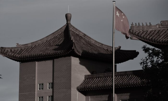 A Chinese flag flies at the Embassy of the People's Republic of China on May 12 in Canberra, Australia. (Sam Mooy/Getty Images)
