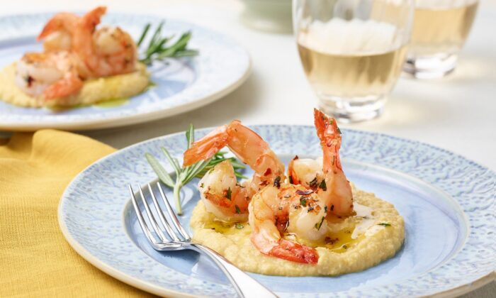 These prawns are cooked simply in extra-virgin olive oil with fresh rosemary and chile flakes, then plated on a bed of creamy, lemony chickpea puree.