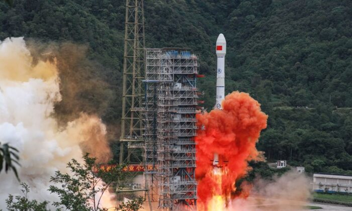 A Long March 3B rocket carrying the Beidou-3GEO3 satellite lifts off from the Xichang Satellite Launch Center in Xichang in China's southwestern Sichuan province on June 23, 2020. (STR/AFP via Getty Images)