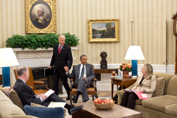Barack Obama Meets Holds Meeting In Oval Office